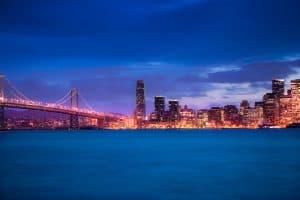 Skyline of San Francisco with Bay bridge at night